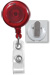 Translucent Red Badge Reel W/ Clear Vinyl Strap & Spring Clip.