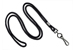 "Black Round 1/8"" (3 Mm) Standard Lanyard W/ Black-Oxidized Swivel Hook"