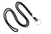 "Black Round 1/8"" (3 Mm) Lanyard W/ Nickel Plated Steel Split Ring"